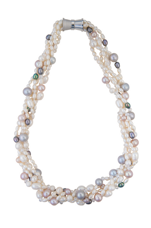 Five-strand multi-colored pearl necklace