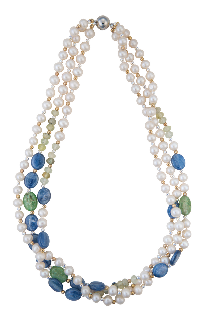 Pearl, lapis, and hairstone necklace