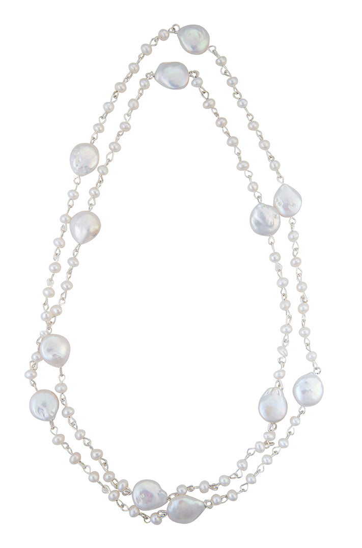 Coin and seed pearl stainless necklace