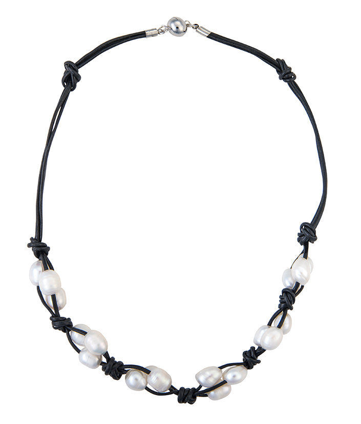 Twisted leather and pearl necklace