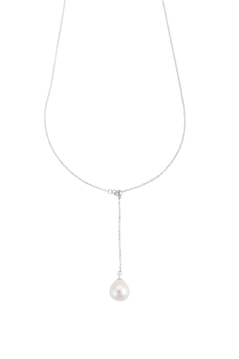 Teardrop pearl lariat on sterling
