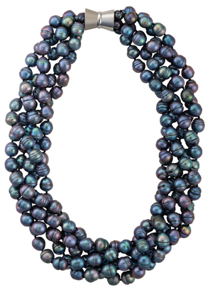 Five-strand rice pearl necklace