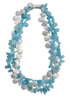 Aquamarine and freshwater coin pearl necklace