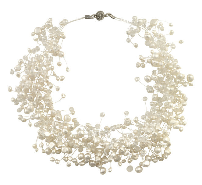 Floating pearl and crystal necklace