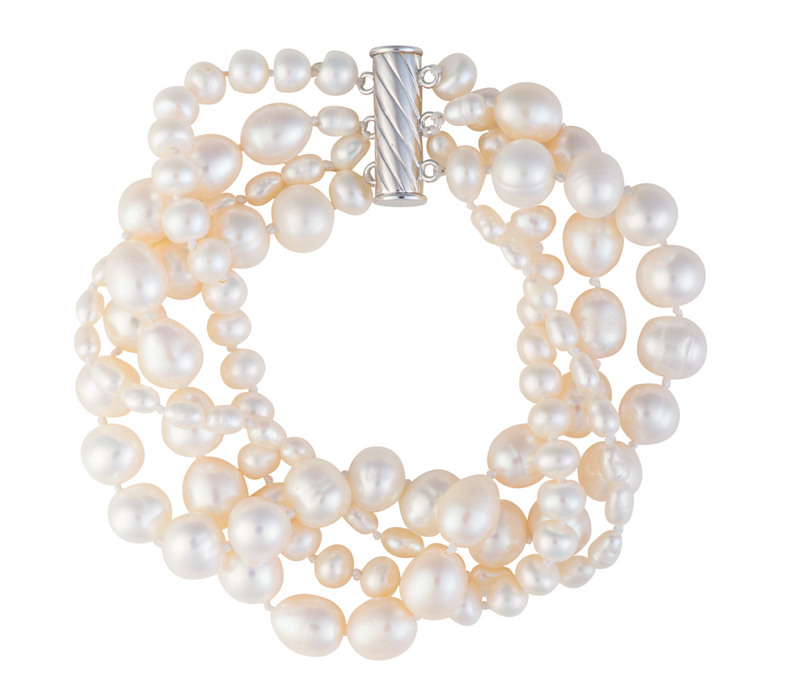 Four-strand freshwater pearl bracelet with twist clasp