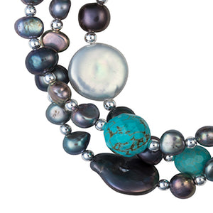 Turquoise and coin pearl necklace