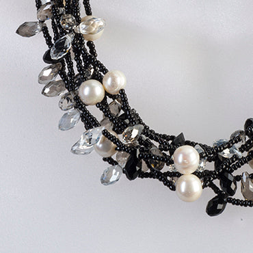 Spiked crystal and pearl collar necklace