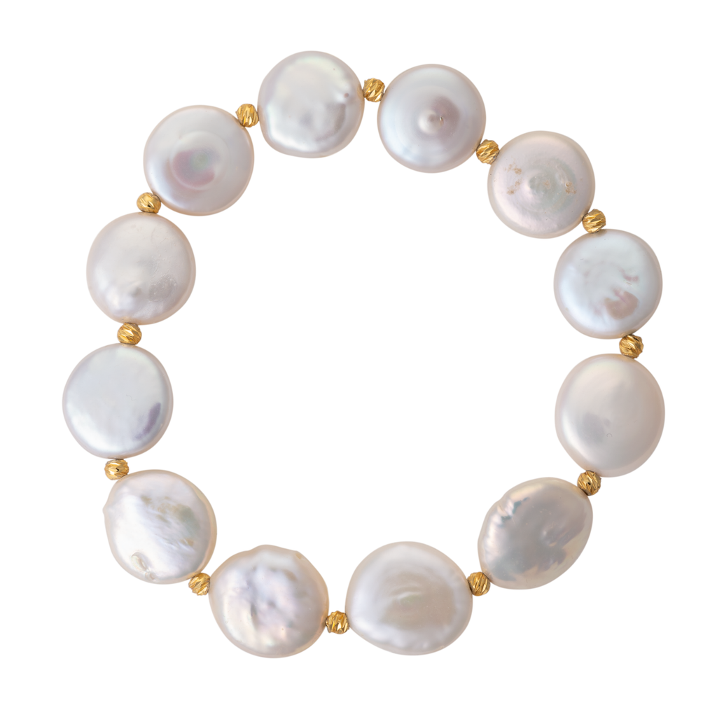 Coin pearl and gold bead stretch bracelet