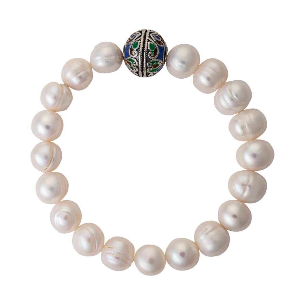 Baroque pearl and cloisonné bead bracelet