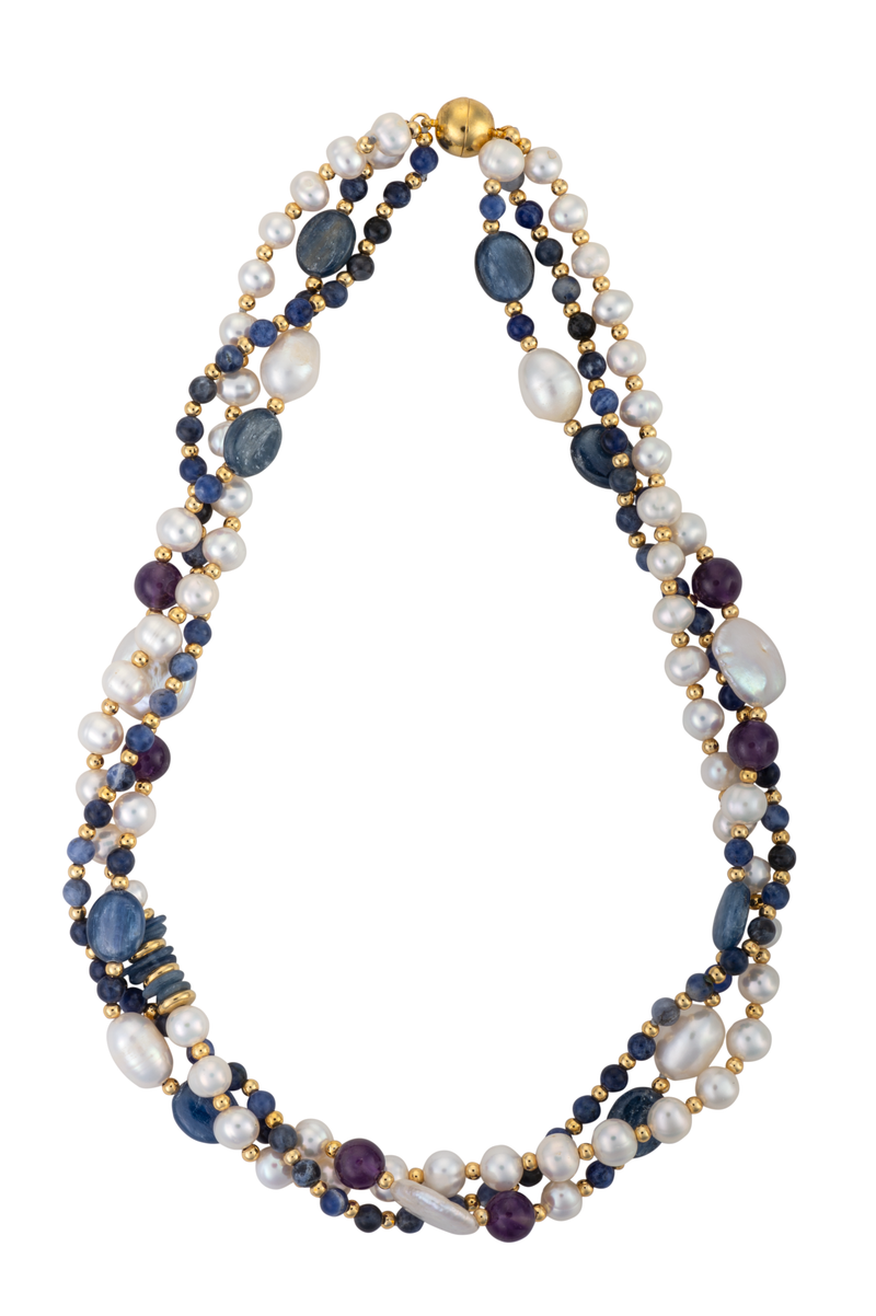 Lapis, sodalight, and pearl necklace