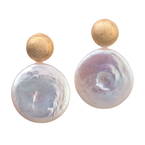 Gold and coin pearl earrings