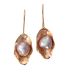 Hanging leaf and pearl earrings