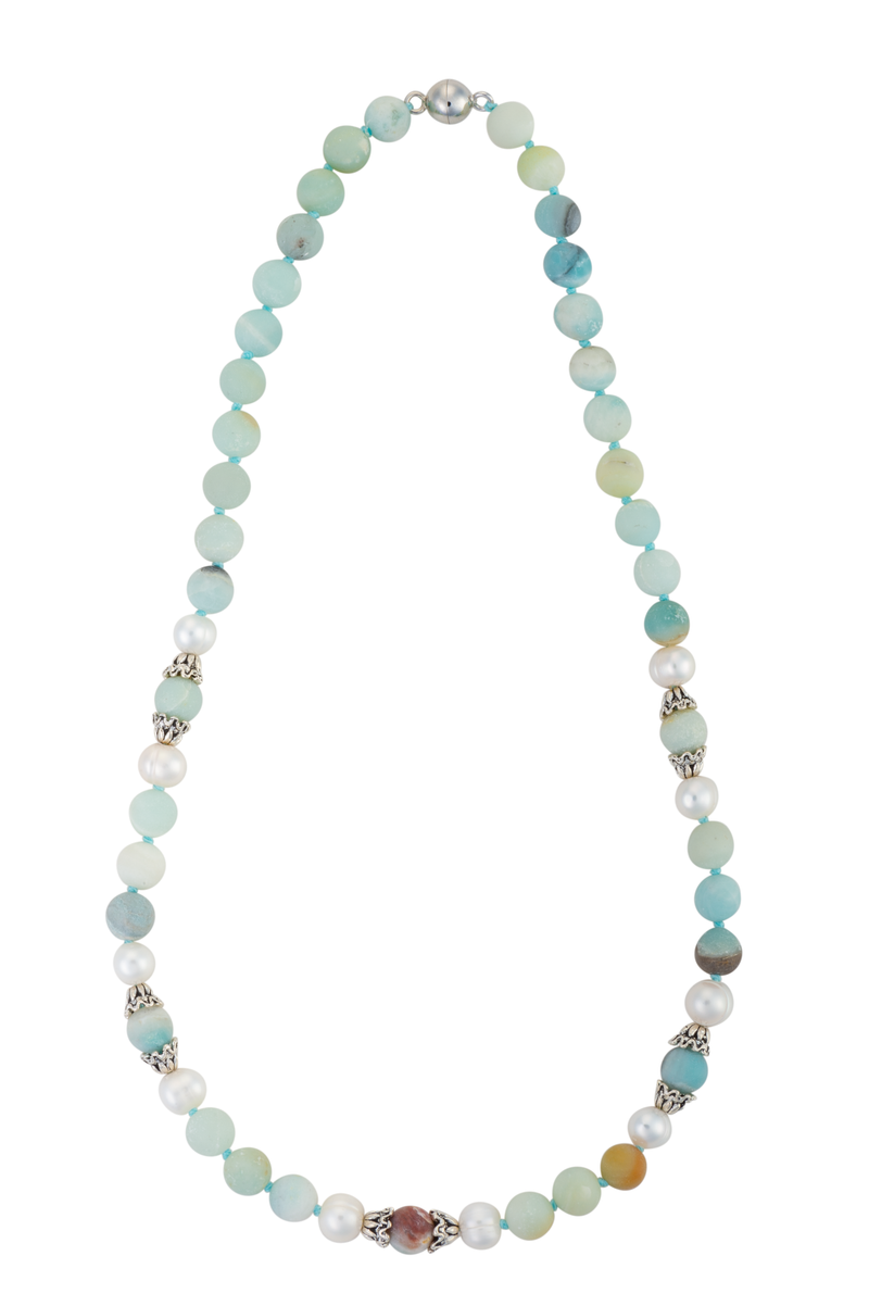 Amazonite, pearl, and silver necklace with magnetic clasp