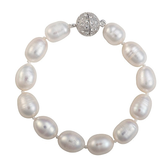 Baroque pearl bracelet with crystal clasp