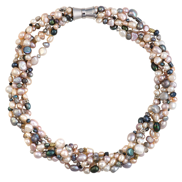 Crystal and Tibetan bead pearl necklace