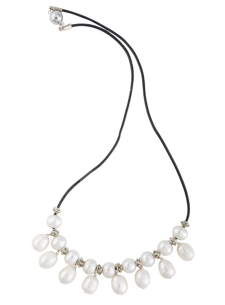 Silver and pearl black leather necklace