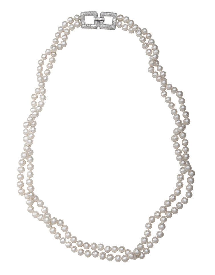 Long Double Strand Pearl Necklace with Crystal Clasp