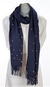 Navy cashmere and pearl pashmina