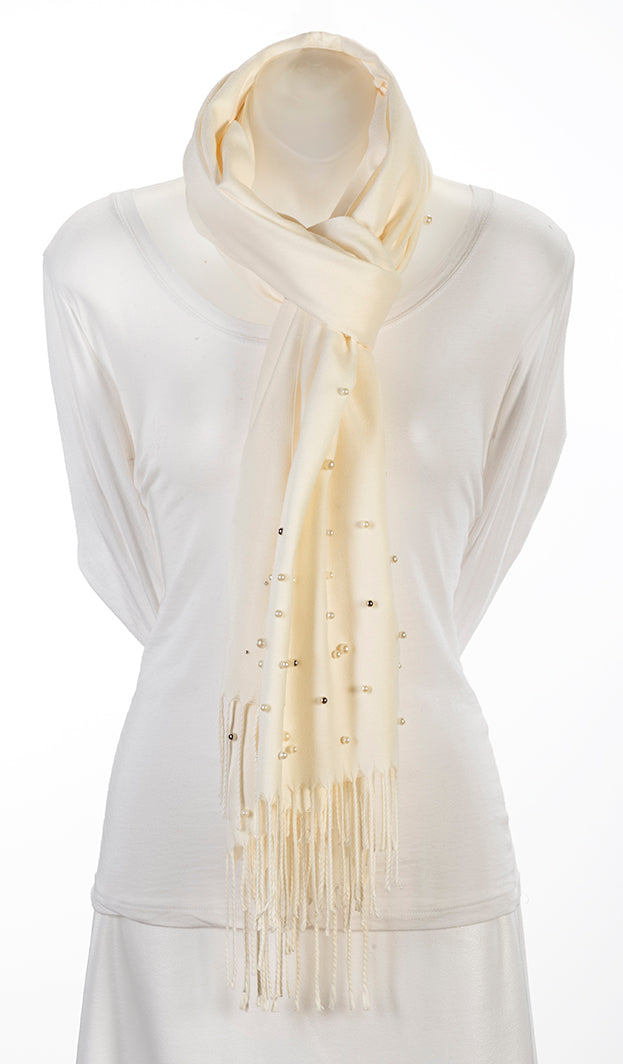 White cashmere blend pashmina with 90 shell pearls
