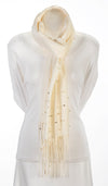 Winter white cashmere and pearl pashmina