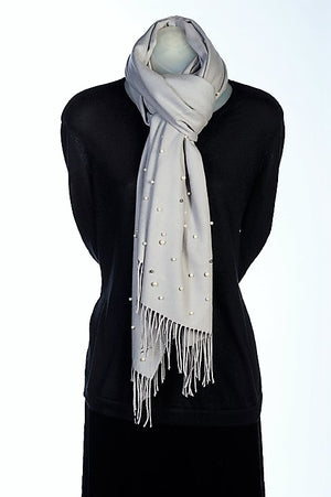 Light gray cashmere and pearl pashmina
