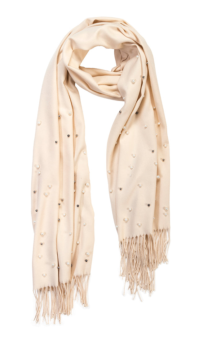 Light Tan cashmere and pearl pashmina