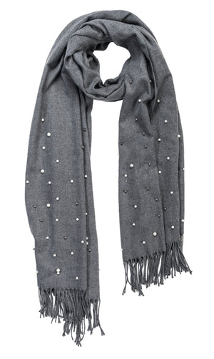 Charcoal cashmere and pearl pashmina