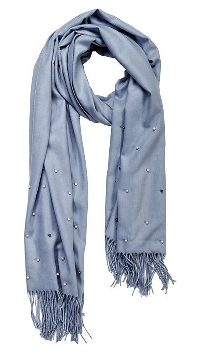 Silver blue cashmere and pearl pashmina