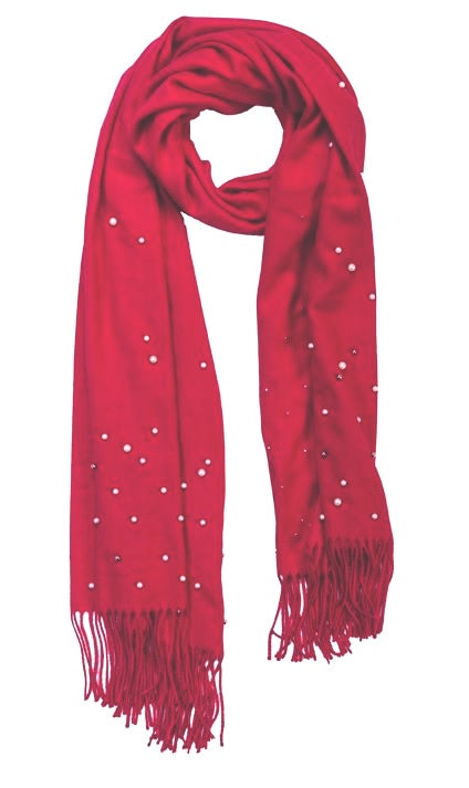 Red cashmere and pearl pashmina