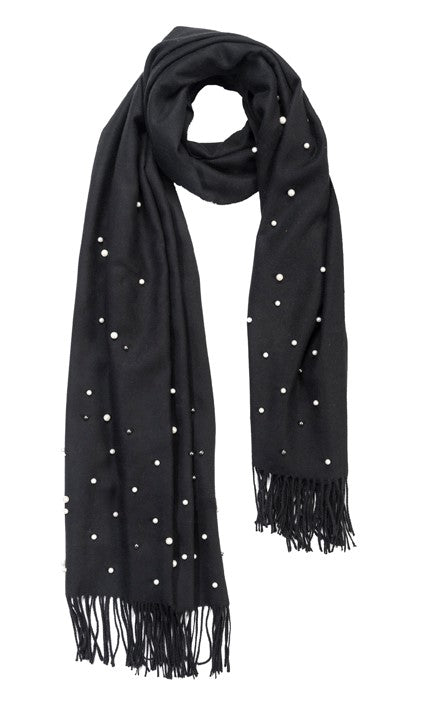 Black cashmere and pearl pashmina