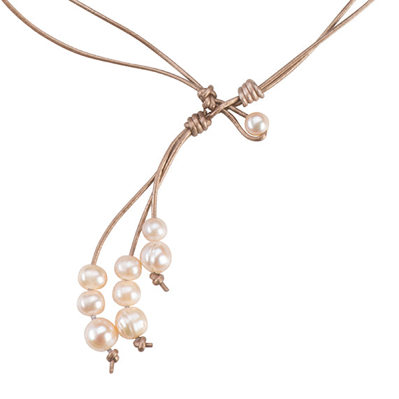 Leather lariat with white pearls