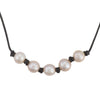 Knotted leather and pearl necklace