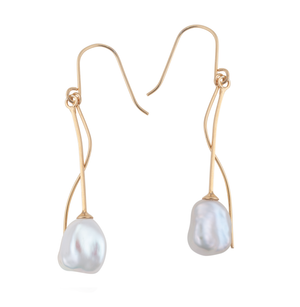 An image of long, dangling white keshi pearl earrings on a 9ct gold bar with 9ct gold architectural accents.