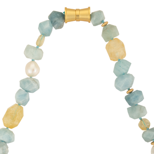 Aquamarine, citrine, and pearl necklace