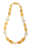 Citrine, frosted glass, and Edison pearl necklace