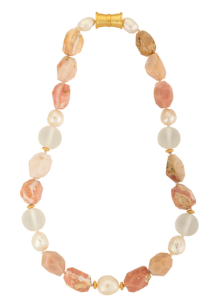 Pink opal and Edison pearl necklace