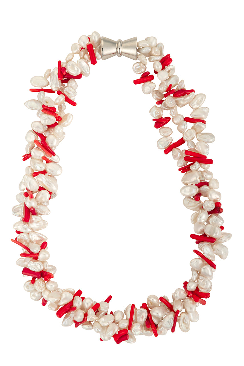 Three-strand keshi pearl and coral necklace
