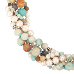 Five-strand amazonite and pearl necklace