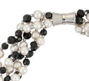 Five-strand jet bead and white pearl necklace