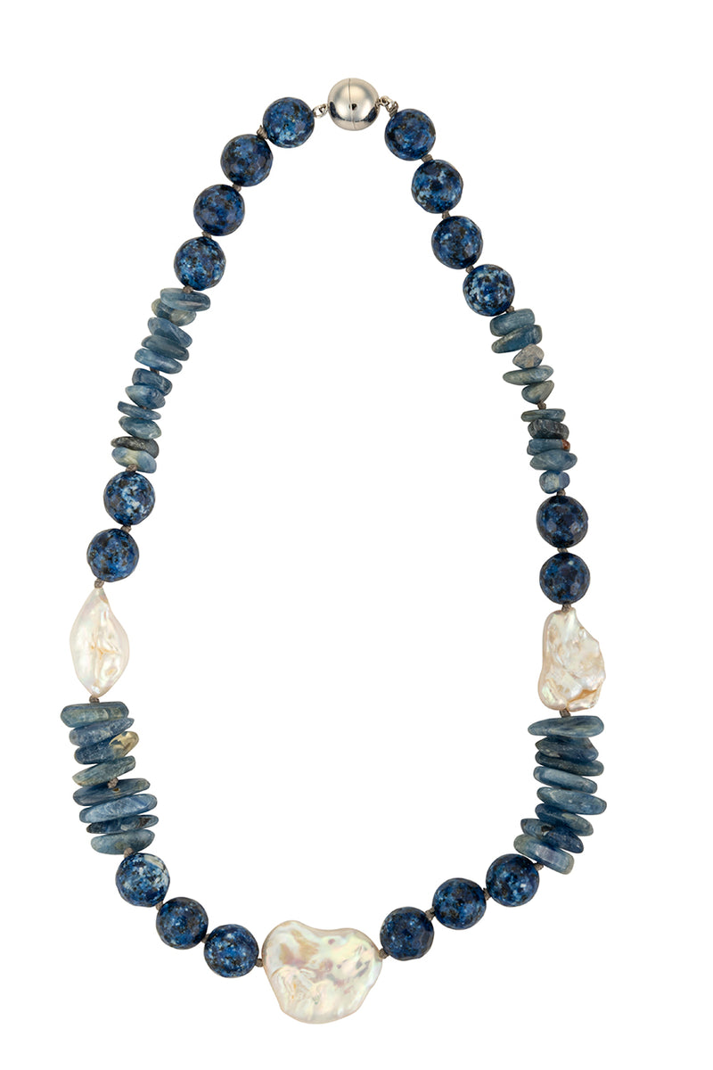 Kyanite and triple biwa pearl necklace