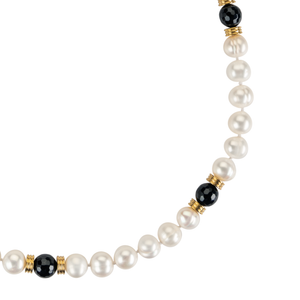 Pearl, gold, and jet bead long necklace