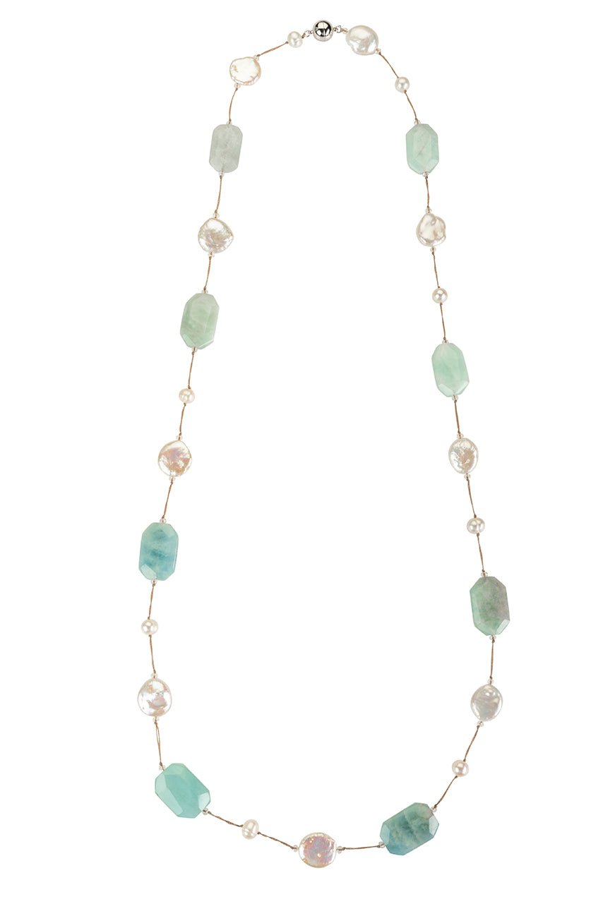 Aquamarine and coin pearl necklace on stainless
