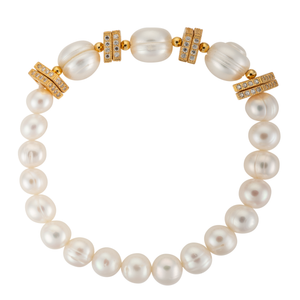 Statement pearl and gold square bracelet