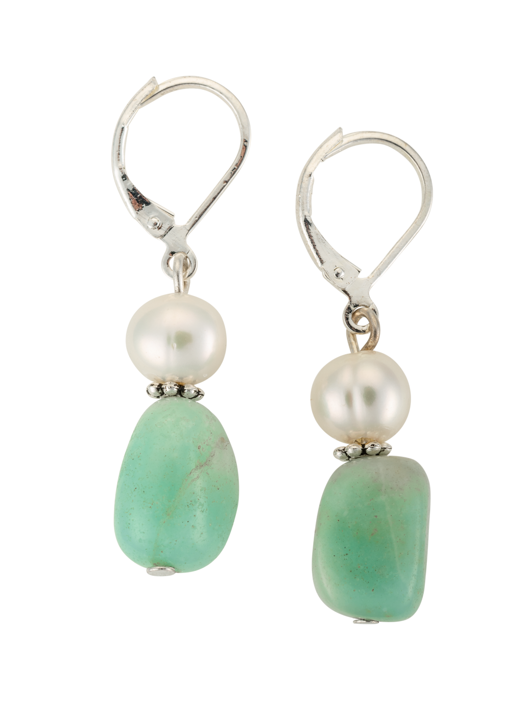 Amazonite and pearl drop earrings on stainless