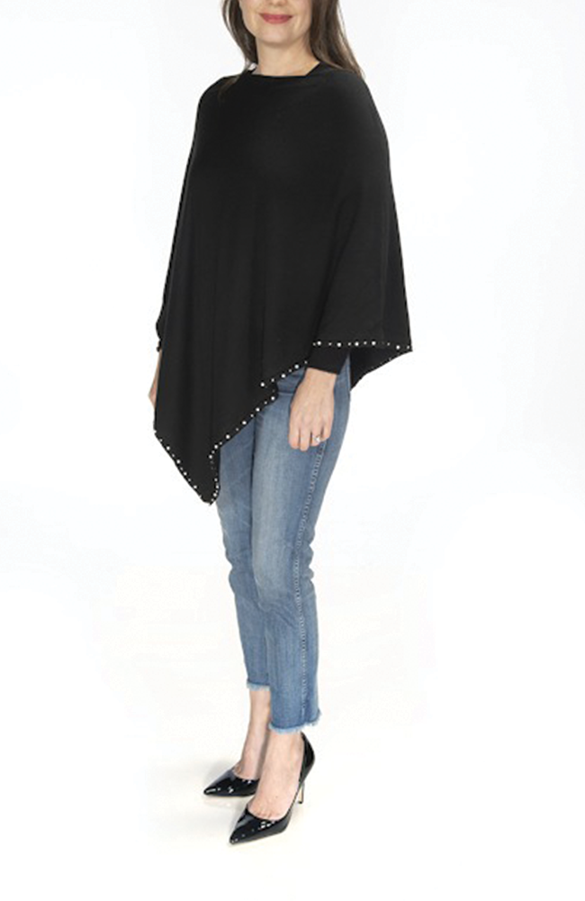 Ultra-soft black pearl-trimmed poncho