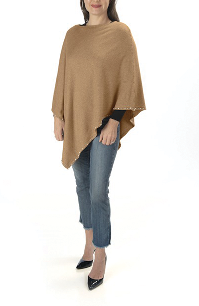 Ultra soft camel pearl-trimmed poncho