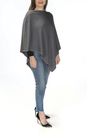 Ultra-soft charcoal pearl-trimmed poncho