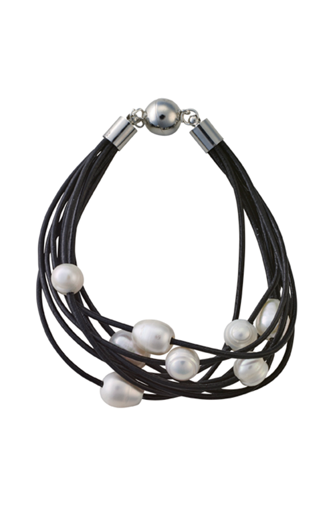 Nine-strand leather and pearl bracelet