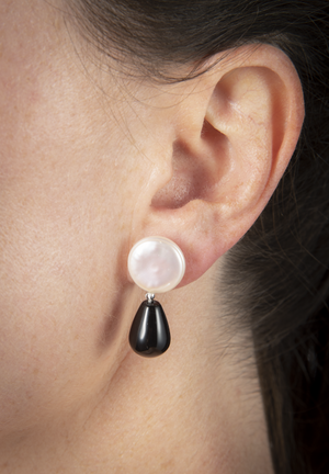 Black onyx and white coin pearl earrings