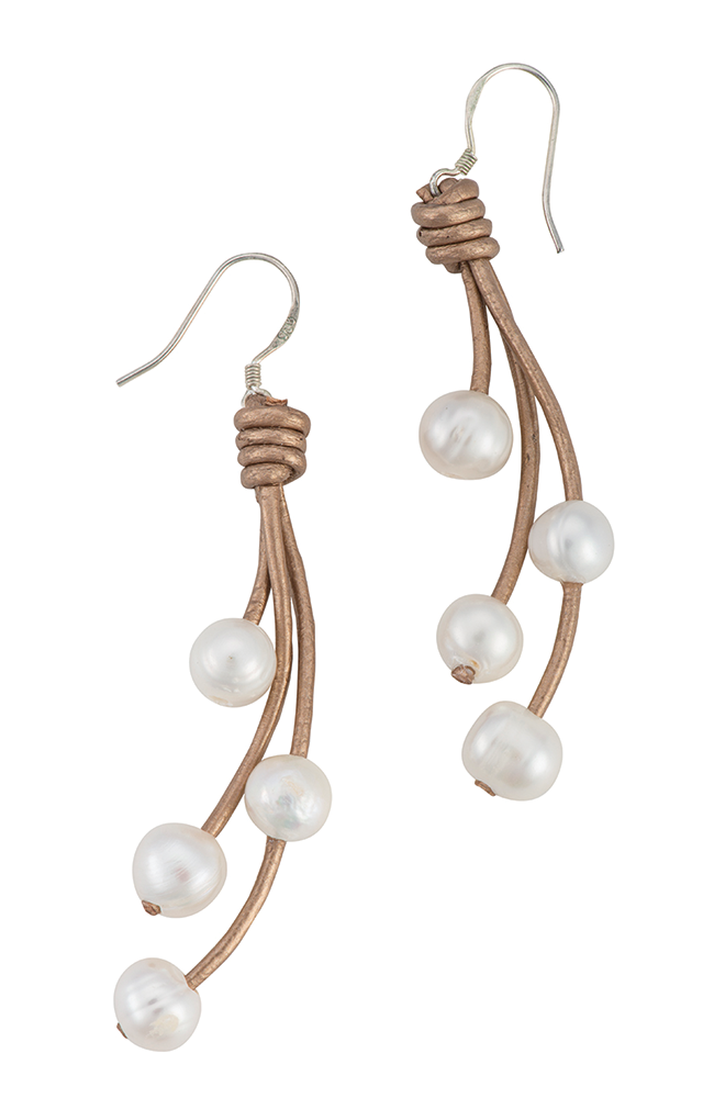 Hanging pearl and leather strand earrings